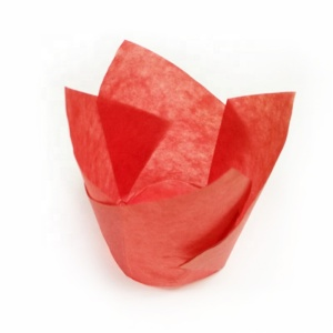 Factory Supply High Quality Red Tulip Cupcake Baking Cups Waxed Paper Cups For Cupcakes Or Muffins