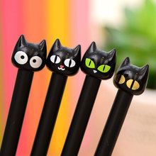 4 Pcs / Pack 0.5mm Novelty Black Cute Cat Gel Ink Pen Promotional Gift Stationery School Office Writing Pens