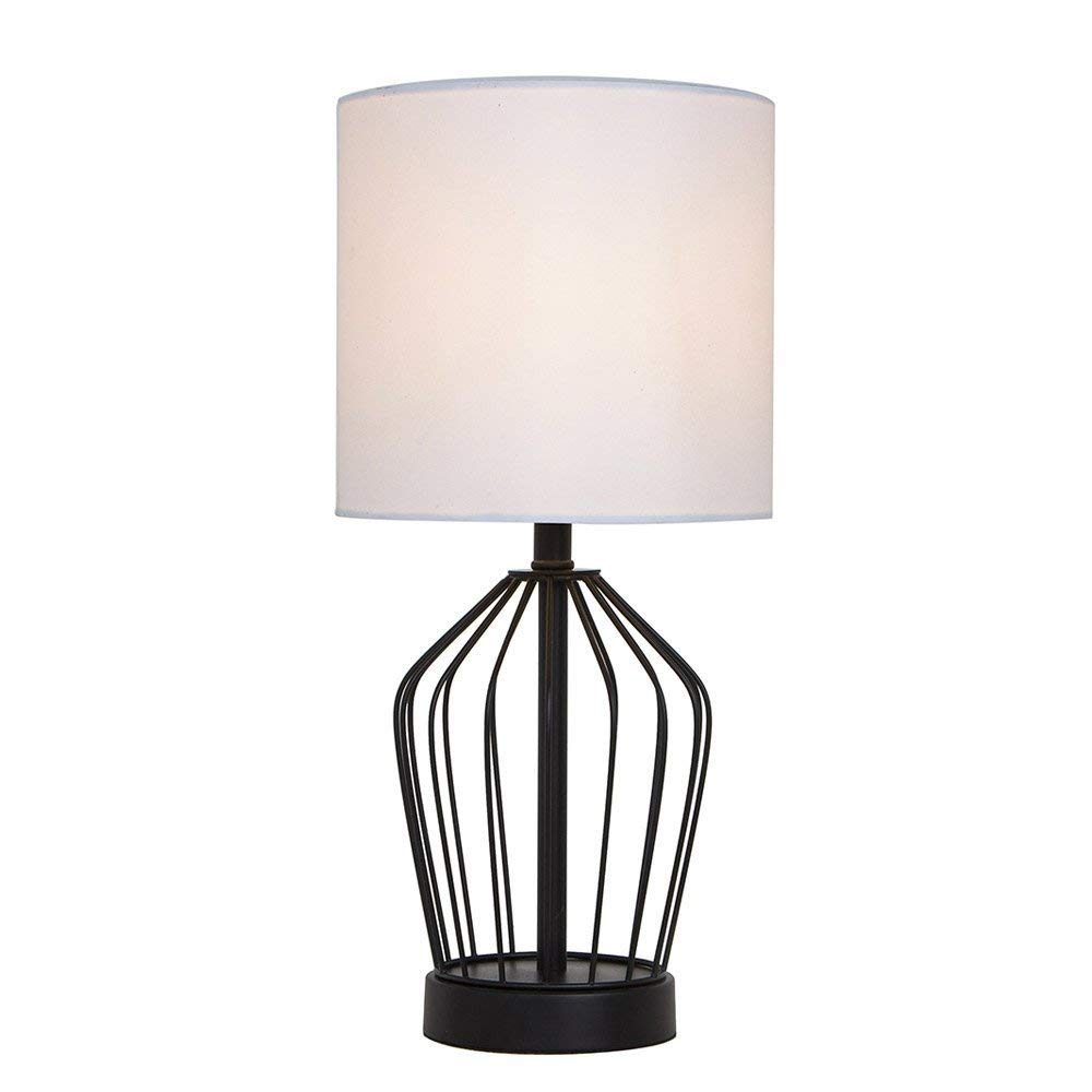 SOTTAE Hollowed Base Black Bedroom Livingroom Bedside Table Lamp, Table Lamps With White Fabric Shade