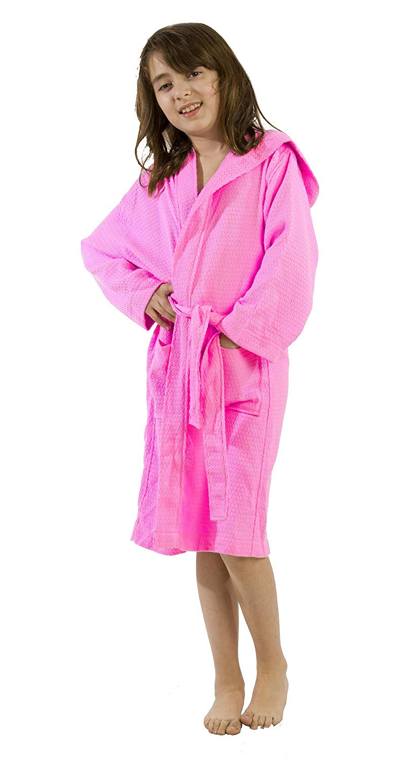 Get Quotations · Bamboo Cotton Waffle Hooded Kid s Robe f70b5358b