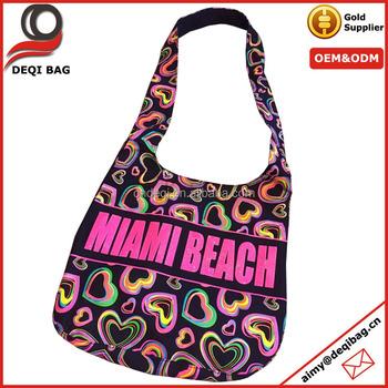 Puff Printing Miami Beach Bag Souvenir Hobo