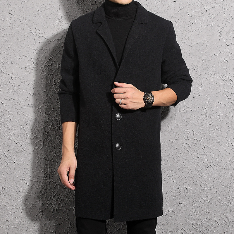 Fashion classic tailored collar button up business men mink cashmere cardigan overcoat фото