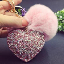 Unique design jeweled heart and ball body jewelry belly ring rabbit fur pompom keyring/key chain