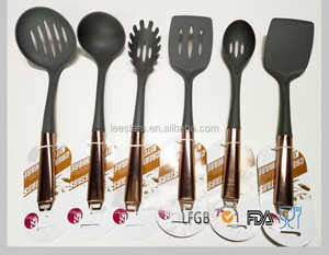 5 PIECE STAINLESS STEEL KITCHEN UTENSILS WITH COPPER HANDLES SET COOKING TOOLS