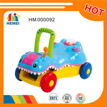 Mutifuntion crocodile baby walker buggy with music