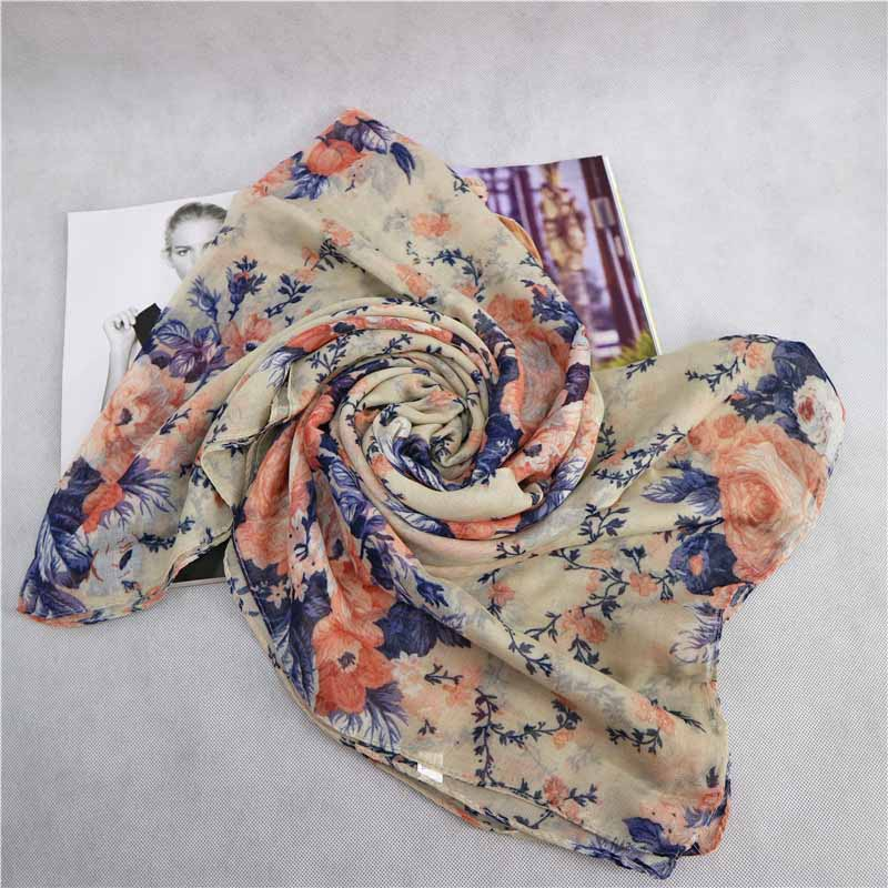Very Cheap Flower Printed Viscose Scarf Shawls Stole Printing Shawls For Lady Any Season