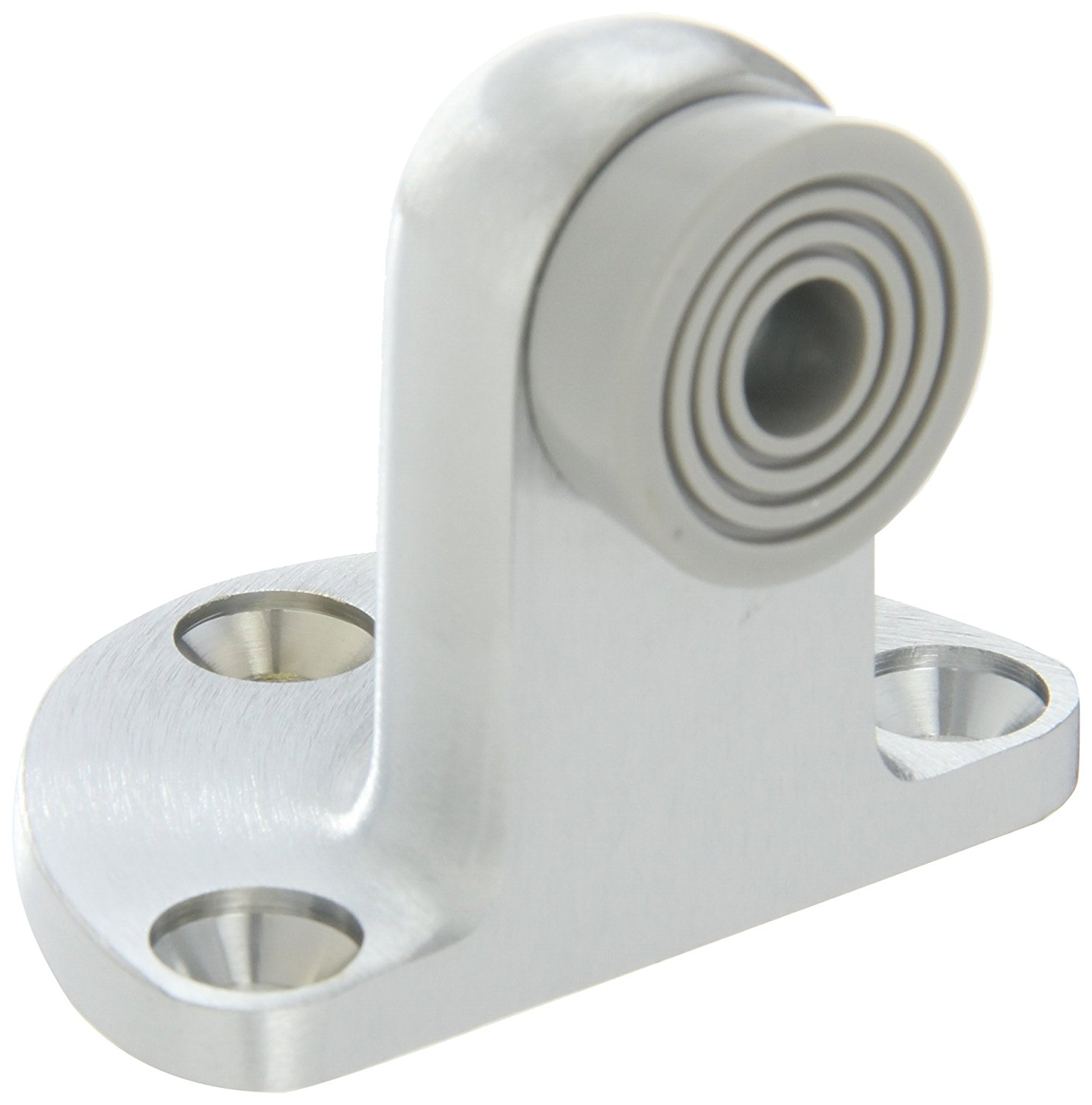 """Rockwood 480H.26D Brass Door Stop, 12 x 1-1/4"""" FH WS Fastener with Plastic Anchor, 2-1/2"""" Base Width x 1-3/4"""" Base Length, 2-1/4"""" Height, Satin Chrome Plated Finish"""