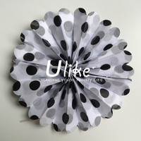 black 4-20inch popular Swiss dot double used paper pinwheels fan and pom poms flowers party decoration electronic