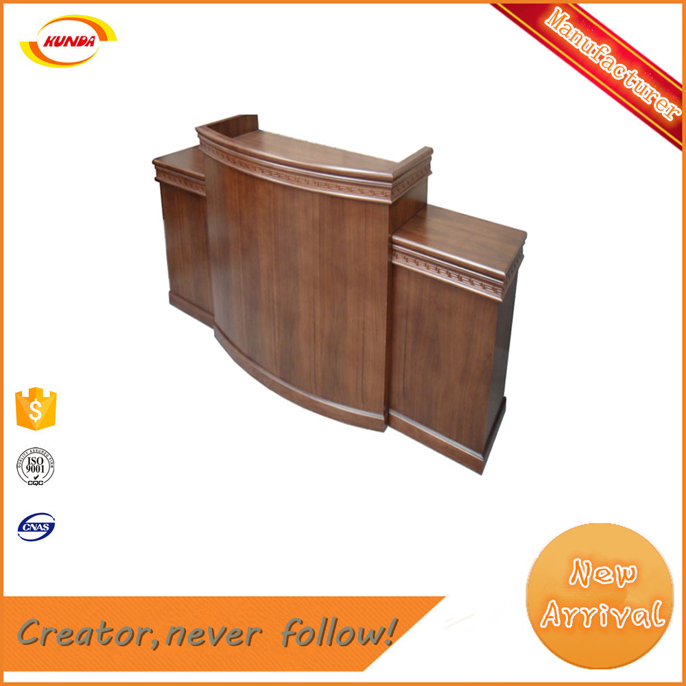wooden podium wood paint reception clients welcome T-027