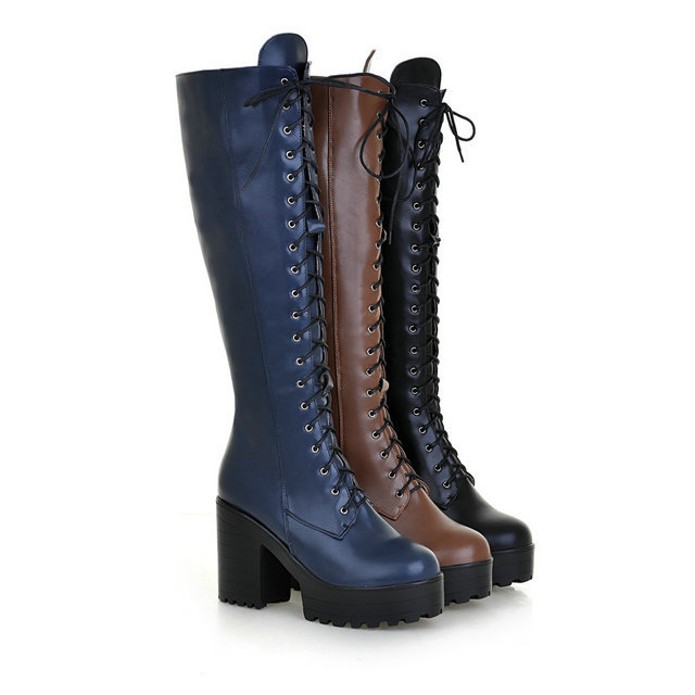 4dddd2cf064 Get Quotations · fashion side zip lace up winter women s knee high boots  thick high heel platform combat boots