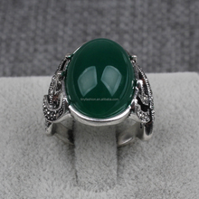 Vintage antike <span class=keywords><strong>silber</strong></span> großen stein dome grüne jade ring