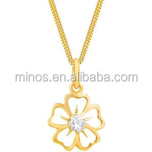 Latest Design Fashion Jewelry Ladies 24k Gold Plated Flower Pendant