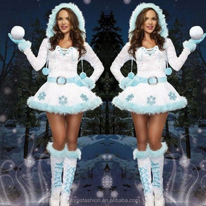 Year Christmas Snowflake White Dress Adult Princess Dress Cosplay Costume Winter Flower Dress E3175