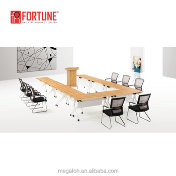 Free Combination Folded Movable U Shaped Conference Tables With Wheels Foh Td 1207