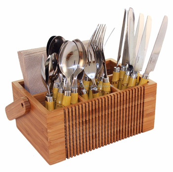 Bamboo Silverware Flatware Caddy Organizer For Kitchen Countertop Storage Dining Table