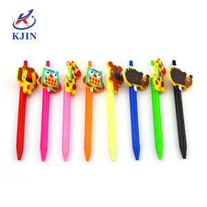 Promotion cheap customized logo and color ballpoint pen with pvc clip for kids