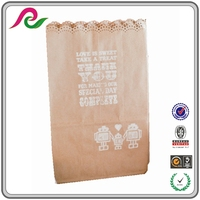 Eco Friendly Vintage Lace Printed Wedding Treat Kraft Paper Gift Bags,Party Pouch Bags
