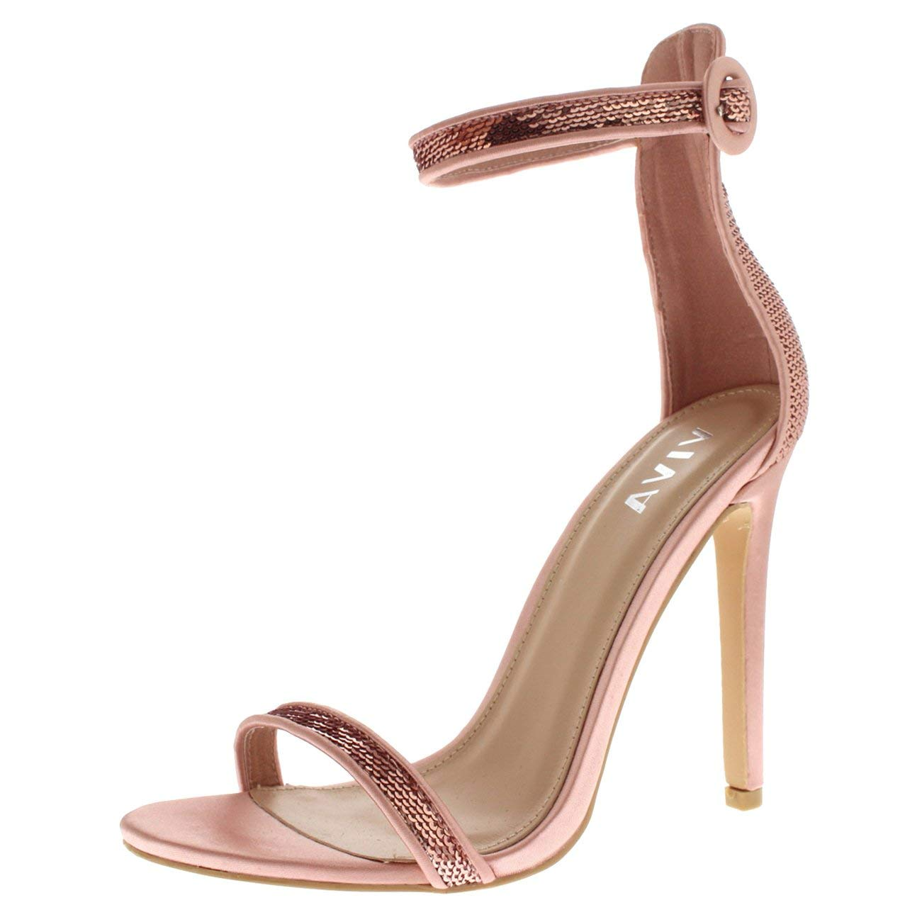 7bc38ae4ab2 Get Quotations · Viva Womens Sequin Glitter Ankle Strap High Heel Sandal  Eveing Party Shoes Shoes