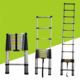 Single Straight Aluminum Alloy Telescopic Extension Ladder 2m 2.6m 2.9m 3.2m 3.8m 4.1m 4.4m 5m size factory supply low price