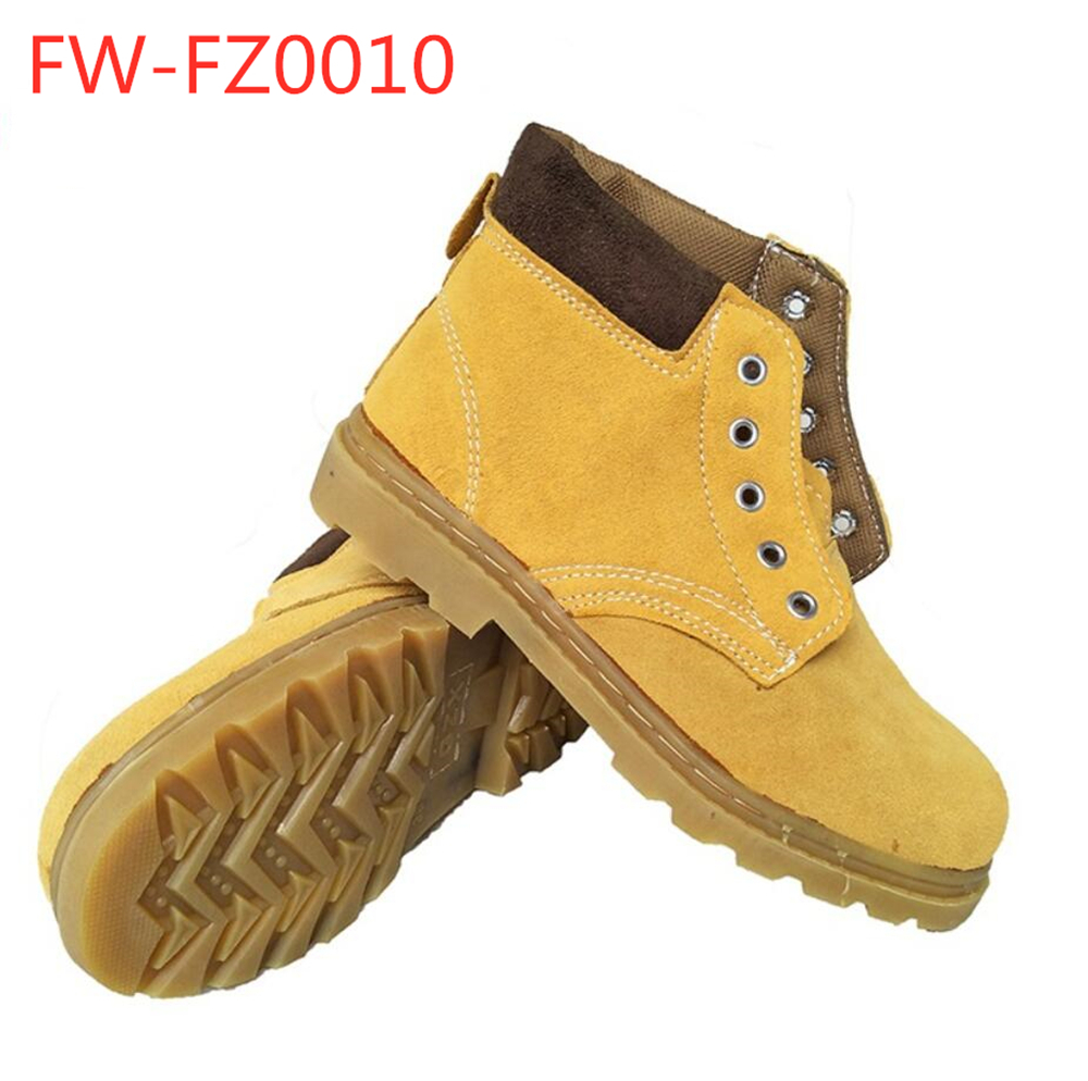 Welder leather protection anti puncture stab resistant steel toe Safety shoes for labor FW-0010