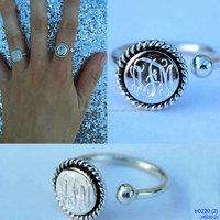 Engraved Silver Nati Skip Cuff Ring
