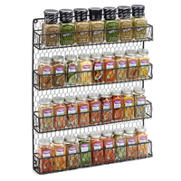 Factory Price Kitchen Accessories 4-tier Wire Mesh Storage Rack Wall Hanging Metal Spice Organizer