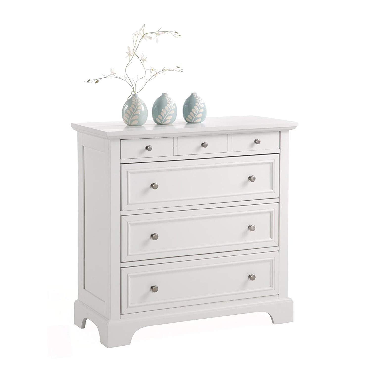 Elegant White Colored Drawer Chest With A Contemporary Design, Rich White Finish, 4 Large Drawers, Poplar Hardwood And Engineered Wood Construction, Adds A Touch Of Elegance In Any Room