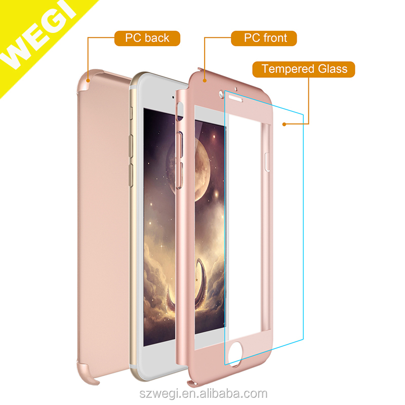 360 Full Body Protections Ultra-thin Hard Slim Case with [Tempered Glass Screen Protector]case for <strong>iphone</strong>