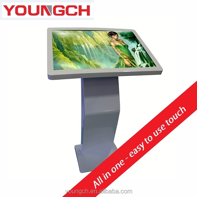 Digital touch screen kiosk equipment enclosure advanced system high brightness 55 inch bevel display inclination mandatory arc