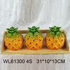 Cheap ceramic condiment set in pineapple shape with wooden bottom
