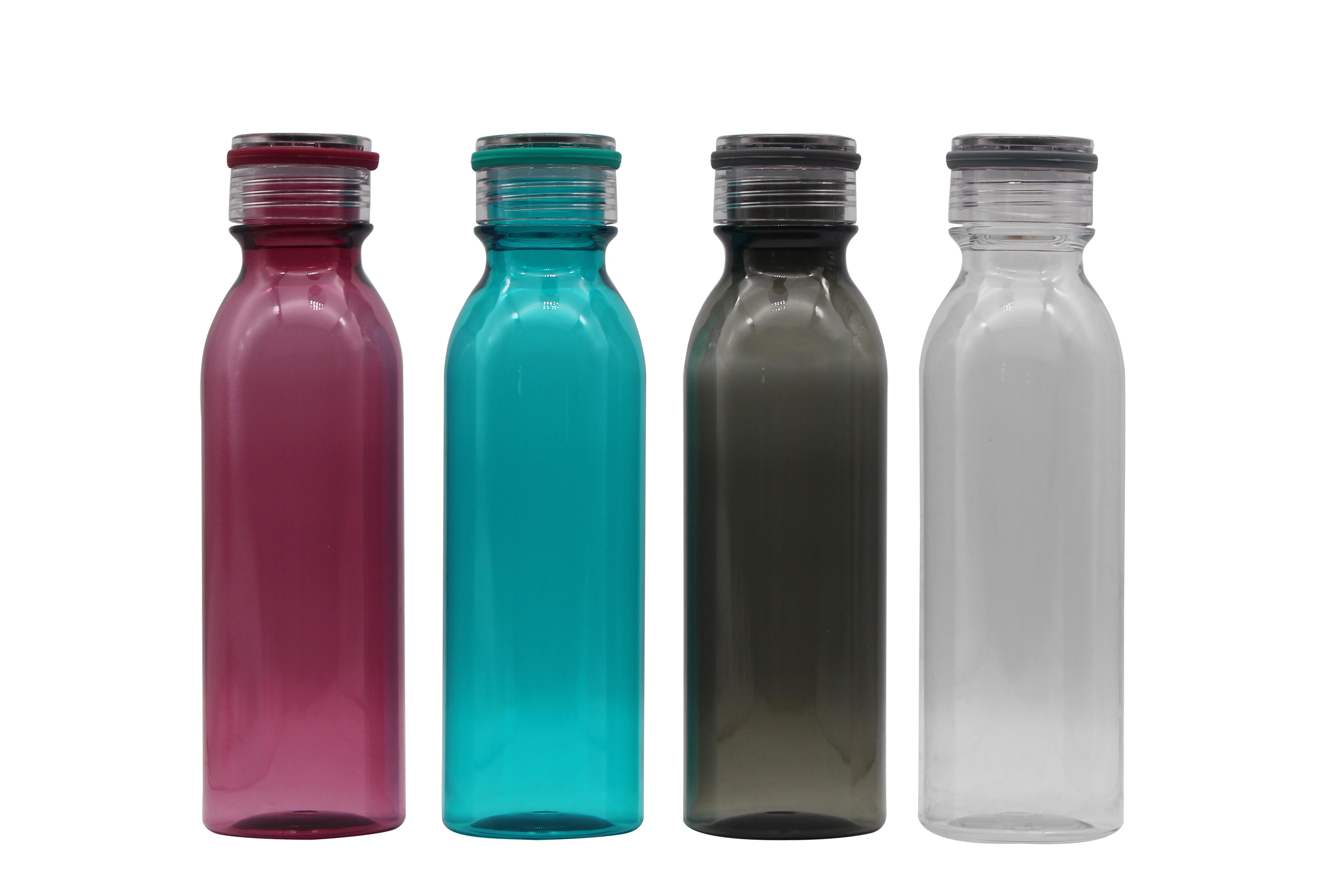 24 Oz Warna-warni Tritan Tidak Beracun Plastik Dapat Digunakan Kembali Botol Air dengan Tali Silikon
