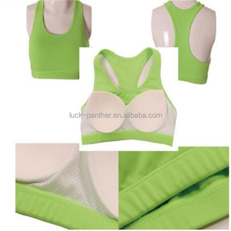 Factory OEM lycra polyester spandex fitness yoga top with sewn inside pad