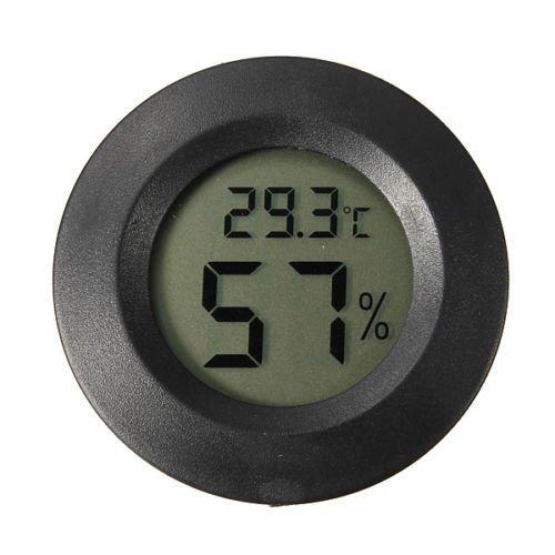 LCD Digital Cigar Humidor Thermometer Hygrometer Temperature Round Black Face