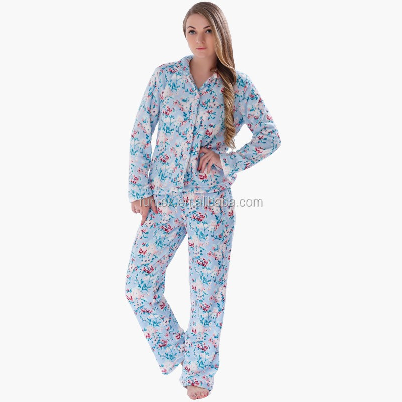 Ladies Coral Fleece 100% Polyester Printed Patterns Home Wear Suits Nightwear Two-piece Pajama Sets For Women Adults
