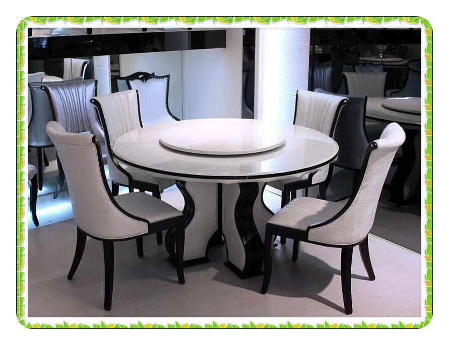 European Style Round Marble Dining Table Rotary White