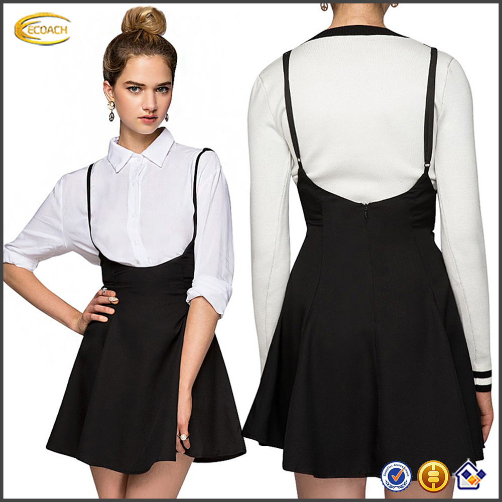 1ecf6913ff3 Ecoach Wholesale OEM hot fashion Korean Street Style A line mini skirts  Sweet High Waist Suspender Skirt