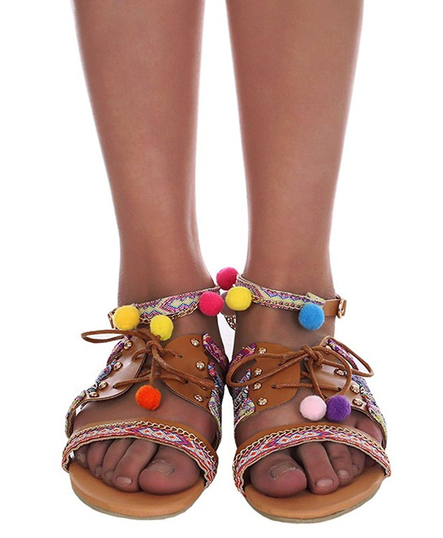 37bf9cb34c0e Buy Pxmoda Womens Boho Braided Flat Sandals Casual T-Bar Summer ...