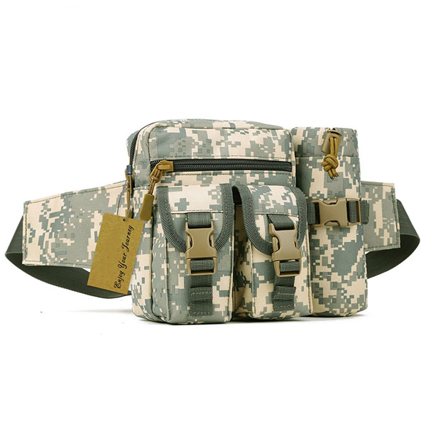 Tactical Waist Pack Pouch Waterproof Molle Fanny Hip Belt Bag With Water Bottle Pocket Holder