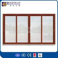 ROGENILAN 120# 4-panel sliding bedroom aluminum window and door designs pictures with auto venetian blinds