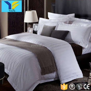 Wholesale queen size 300TC 3cm stripe white hotel bed linen sheets bed set bedding set 100% cotton bedding duvet cover set