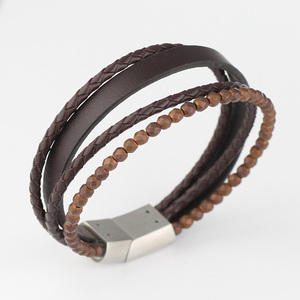 Wholesale Factory Fashion Stainless Steel Magnetic Clasps Bracelet Black Braided Mens Leather Bracelet