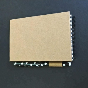 kraft paper cover wire-o binding A5 size notebook with pen custom printing