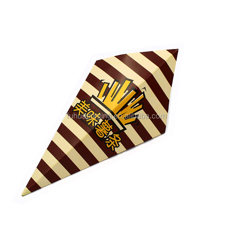Custom printed Disposable French fries box paper cone