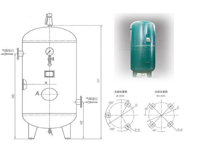 China silent air compressor compressed air storage tank in many sizes