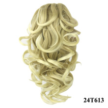 cheapest and most popular synthetic hair little girls blonde curly claw clip ponytail hair extensions