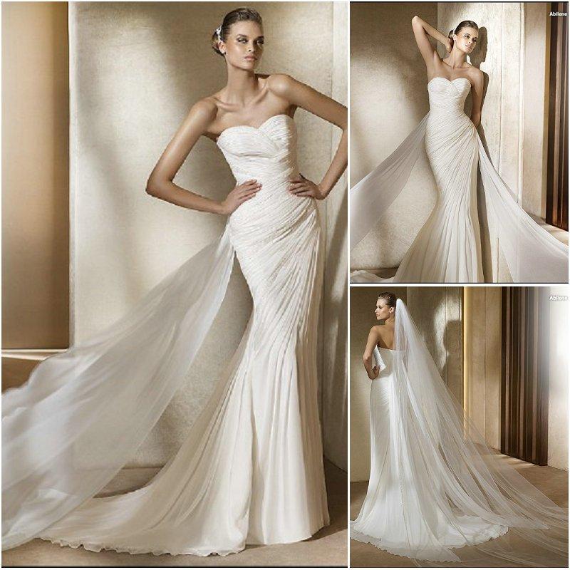 Wedding Gown Necklines: Unique Sweetheart Neckline Strapless Beaded Chiffon A Line
