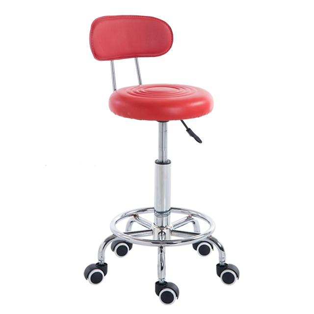 Beauty Modern Salon Bar Chair Red Color PU Leather Stool