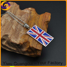 Great Britain souvenir stainless steel flag charm necklace