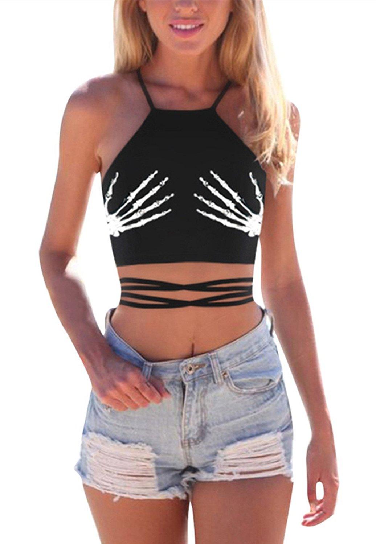 Grace's Secret Womens Crop Top 3D Print Criss Cross Lace up Back Halter Top Cami Vest