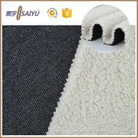 wholesale Deep color cotton polyester denim raw material fleece fabric